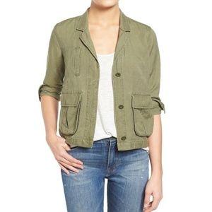 Madewell Military Green League Cargo Linen Jacket